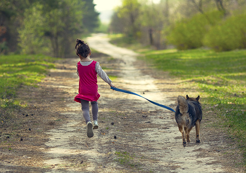 Little girl with dog running on the road